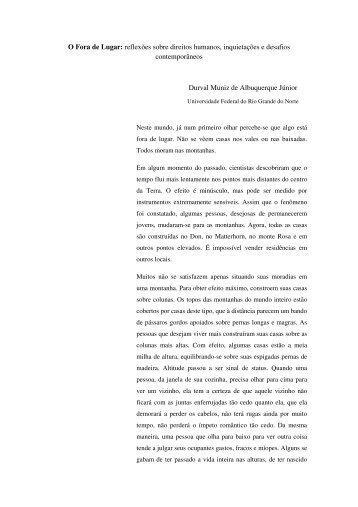 O Fora de Lugar: reflexões sobre direitos humanos, inquietações e ...