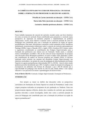 O CURRÍCULO PENSADO NO CURSO DE PEDAGOGIA: UM ... - 2