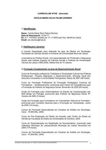 resumo CV CDionísio - CESNOVA - Universidade Nova de Lisboa