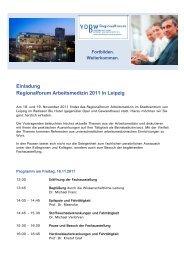 Einladung Regionalforum Arbeitsmedizin 2011 in Leipzig - Verband ...