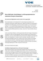 VDE-Studie Effizienz- und Einsparpotentiale