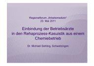 Einbindung der Betriebsärzte in den Rehaprozess-Kasuistik aus ...