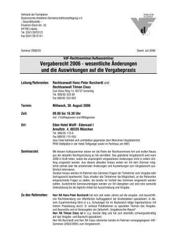 Vergaberecht 2006 - Verband der Fachplaner Gastronomie