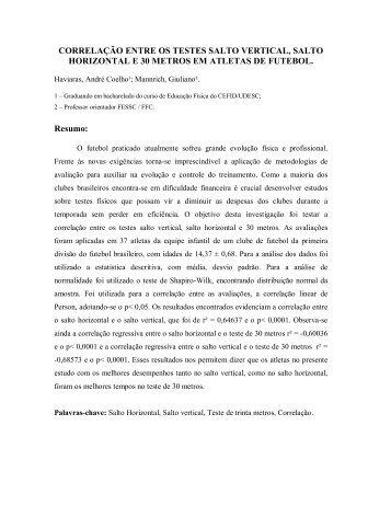 CORRELAÇÀO ENTRE OS TESTES SALTO VERTICAL, SALTO ...