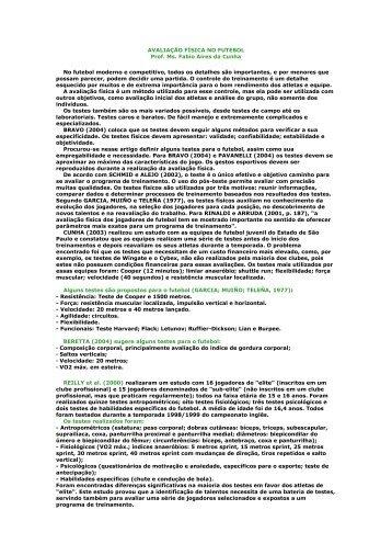 AVALIAÇÃO FÍSICA NO FUTEBOL - Marceloalbino.com.br