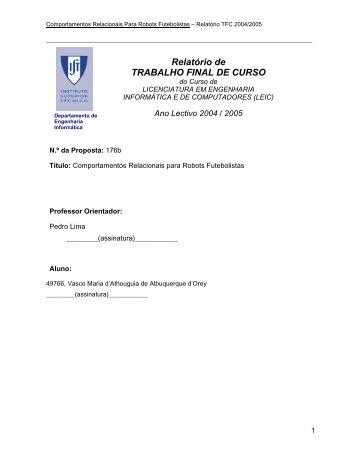 Relatório de TRABALHO FINAL DE CURSO - ISocRob