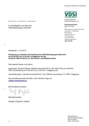 Einladung zur BZG Veranstaltung - VDSI
