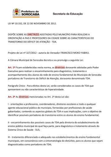 lei nº 10.332, de 22 de novembro de 2012. dispõe sobre as ...