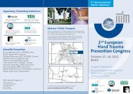2nd European Hand Trauma Prevention Congress October 15 - VDSI
