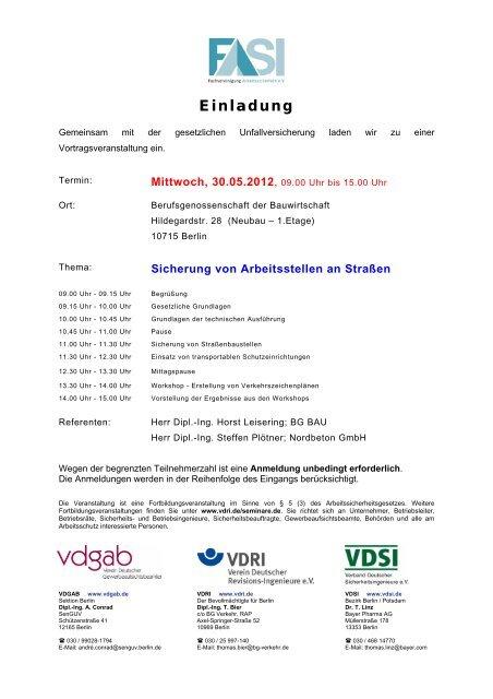 Mustereinladungen FASI-Veranstaltungen - VDSI
