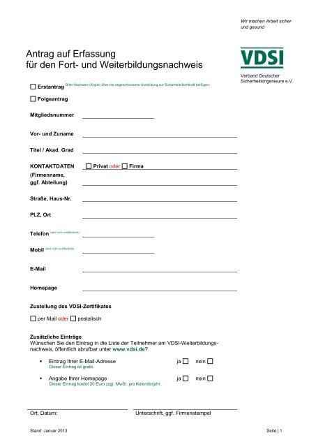 Antrag auf Erfassung für den Fort- und Weiterbildungsnachweis - VDSI