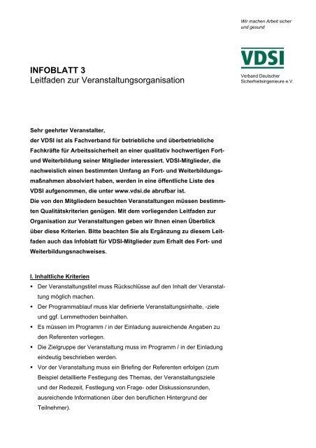 INFOBLATT 3 Leitfaden zur Veranstaltungsorganisation - VDSI