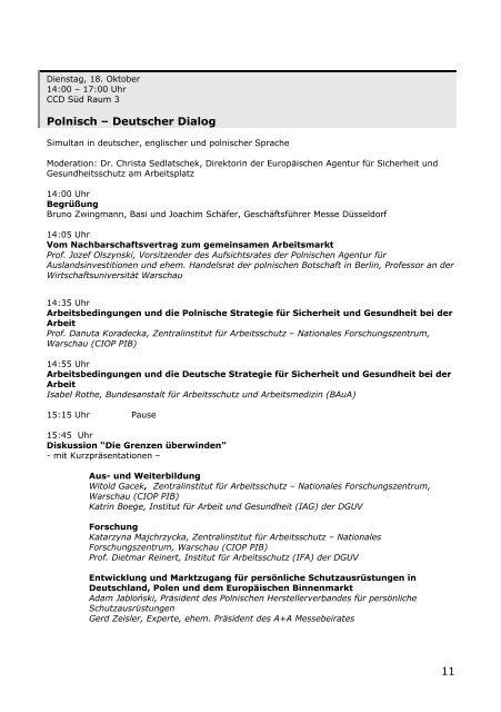 Kongressprogramm 2011 - Messe Düsseldorf
