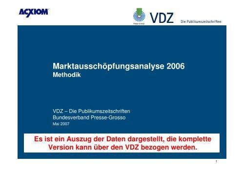 MAK-Analyse_2006_Methodik - Auszug - VDZ