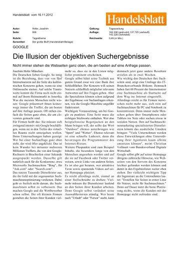 """Handelsblatt: """"Die Illusion der objektiven Suchergebnisse"""" - VDZ"""