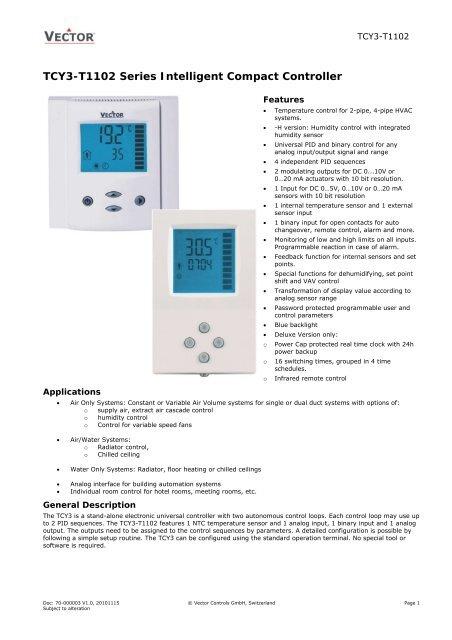 TL-EA Series Digital Fan Coil Controller - Vector Controls Group