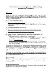 Information zur Berechnung des für den Elternbeitrag ... - Stadt Velbert