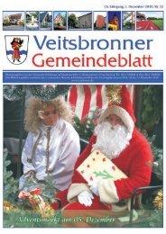 Veranstaltungshinweis: Freitag 03. Dezember 2010 - Veitsbronn