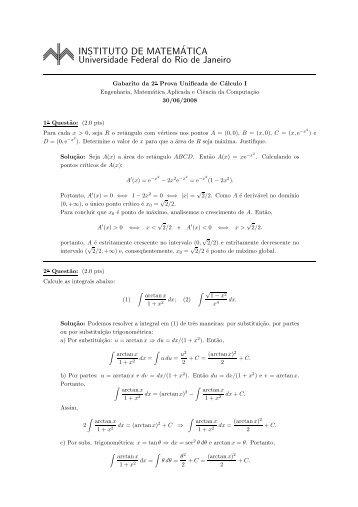 Prova e o gabarito - Instituto de Matemática - UFRJ