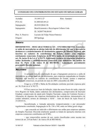 19149 - Secretaria de Estado de Fazenda de Minas Gerais