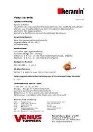 Datenblätter Kaminsysteme - beim Venus Tonwerk