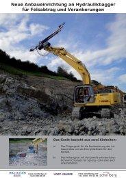 Neue Anbaueinrichtung an Hydraulikbagger für Felsabtrag und ...