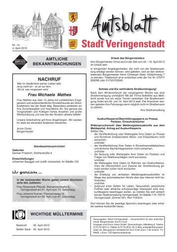 Amtsblatt KW 14 - Veringenstadt