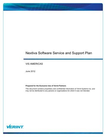Nextiva Software Service and Support Plan - Verint Systems Inc.