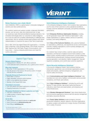 fact sheet - Verint Systems Inc.