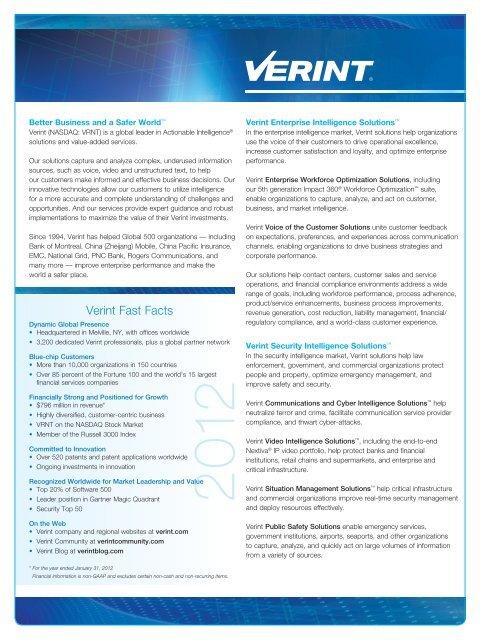 fact sheet - Verint Systems Inc