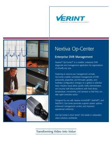 Nextiva Op-Center - Verint Systems Inc.