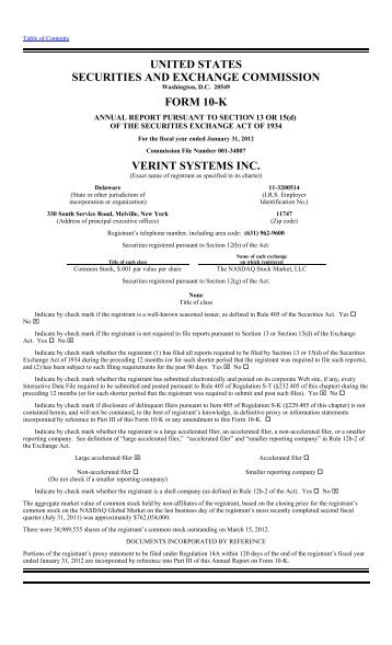 FORM 10-K - Verint Systems Inc.