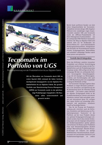 Tecnomatix im Portfolio von UGS (122 KB) - Logistik Journal