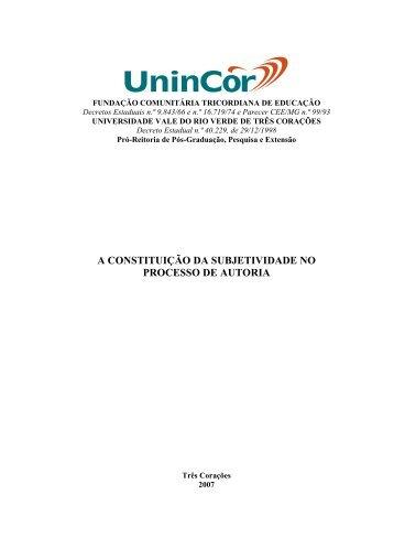 A constituição da subjetividade no processo de autoria - UninCor