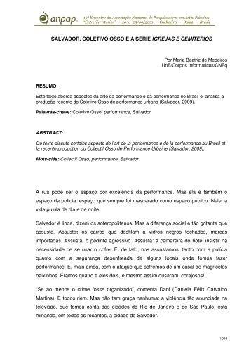 SALVADOR, COLETIVO OSSO E A SÉRIE IGREJAS E ... - anpap