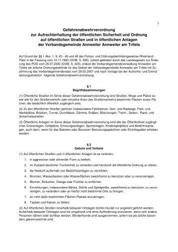 Gefahrenabwehrverordnung - Verbandsgemeinde Annweiler am ...