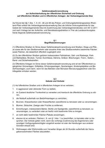 Gefahrenabwehrverordnung - Verbandsgemeinde Diez