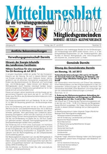 Amtliche Bekanntmachungen ... - der VG Dormitz