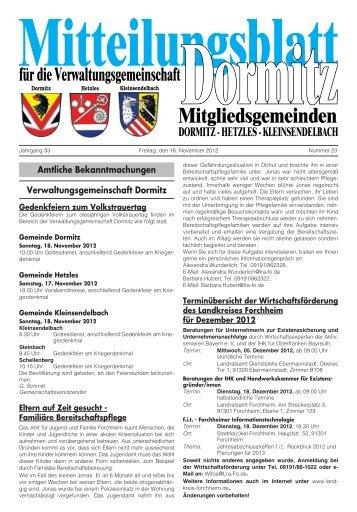 Kalenderwoche 46 - der VG Dormitz