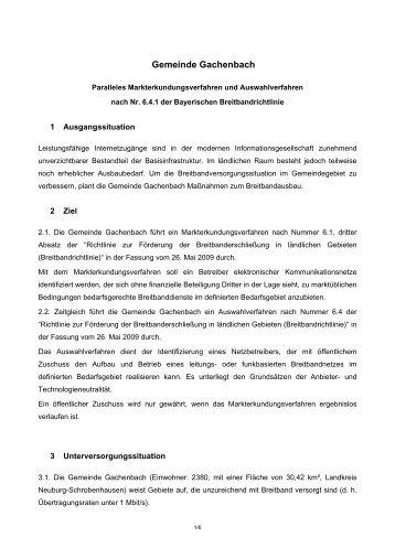 Gachenbach Markterkundung- und Auswahlverfahren