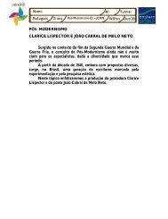 PÓS- MODERNISMO CLARICE LISPECTOR E JOÃO CABRAL DE ...