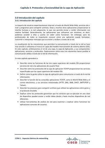 Capítulo 3. Protocolos y funcionalidad de la capa de Aplicación 3.0 ...
