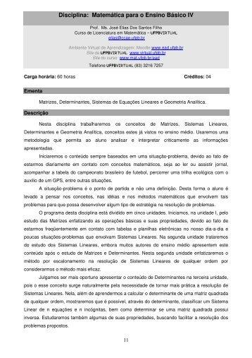 Disciplina: Matemática para o Ensino Básico IV - UFPB Virtual