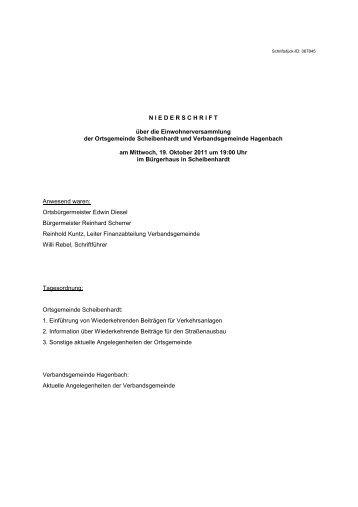 Nieder- schrift - Verbandsgemeinde Hagenbach