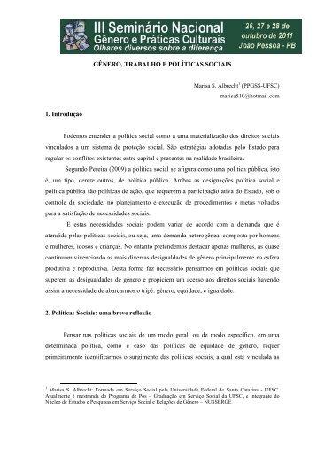 gênero, trabalho e políticas sociais - Itaporanga.net