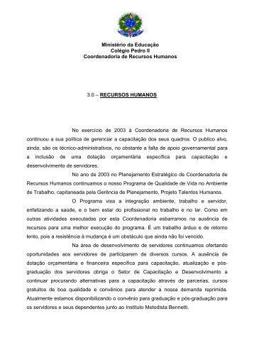 Relatório de Gestão Exercício 2003 - Colégio Pedro II