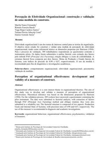 Efetividade organizacional. - PePSIC