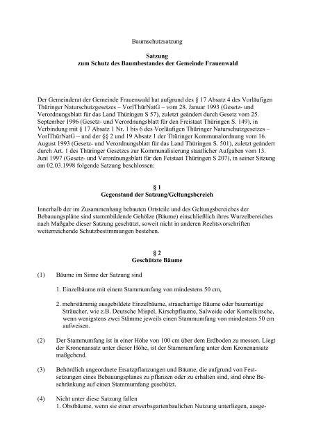 Baumschutzsatzung Satzung zum  Schutz des ...  - VG Rennsteig