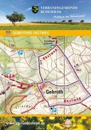 Wanderwege in Gebroth - Verbandsgemeinde Rüdesheim