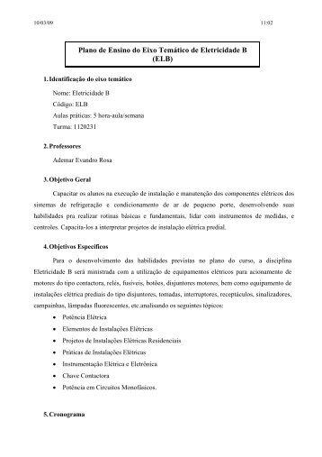 Plano de Ensino do Eixo Temático de Eletricidade ... - IF-SC São José